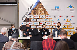 Domen Svab, Luka Fonda, Gorazd Hren and Anze Stremfelj at press conference of Slovenian National Climbing team before new season, on March 23, 2021 in Bolder Scena, Ljubljana, Slovenia. Photo by Vid Ponikvar / Sportida