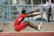 Paralympic athlete Elexis Gillette attempts a long jump at the Paralympic Trials in San Antonio, Texas.