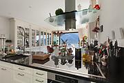 Architecture, interior of modern kitchen, counter top