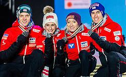 02.03.2019, Seefeld, AUT, FIS Weltmeisterschaften Ski Nordisch, Seefeld 2019, Skisprung, Mixed Team, Siegerehrung, im Bild Silbermedaillengewinner Eva Pinkelnig (AUT), Philipp Aschenwald (AUT), Daniela Iraschko-Stolz (AUT), Stefan Kraft (AUT) // Silver medalist Eva Pinkelnig Philipp Aschenwald Daniela Iraschko-Stolz Stefan Kraft of Austria during the winner Ceremony for the mixed team competition in ski jumping of nordic combination of FIS Nordic Ski World Championships 2019. Seefeld, Austria on 2019/03/02. EXPA Pictures © 2019, PhotoCredit: EXPA/ Stefan Adelsberger