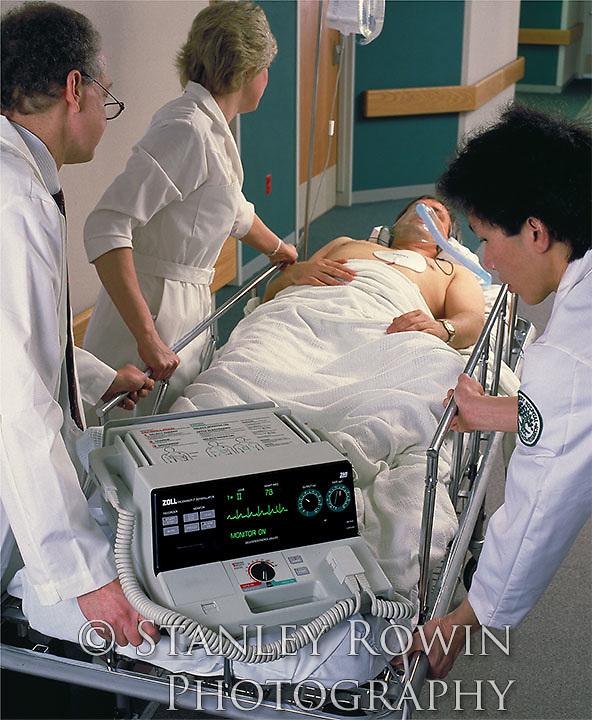 zoll portable defibrillator in use in hospital
