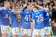 Chesterfield midfielder Zavon Hines (41) celebrates his goal with teammates during the EFL Sky Bet League 2 match between Chesterfield and Notts County at the Proact stadium, Chesterfield, England on 25 March 2018. Picture by Nigel Cole.