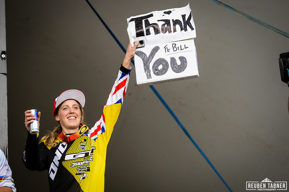 09.06.2013 Fort William, Scotland. Rachel Atherton thanks the Fort Bill crowds for helping her to victory in the UCI Mountain Bike World Cup from Fort William.
