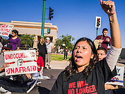 20 MARCH 2012 - PHOENIX, AZ: Virdiana Hernandez (CQ) chants against deportation during a student protest in support of the DREAM Act on 75th Ave in front of Trevor G. Browne High School Tuesday.    PHOTO BY JACK KURTZ