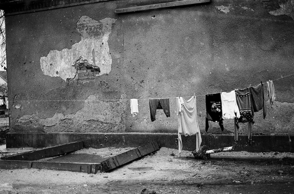 Drying clothes at the Varazdin refugee camp in Croatia in the winter of 1992.