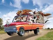 Cartoon Farm Animals driving a truck to the State Fair