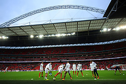 4 September 2017 -  2018 FIFA World Cup Qualifying (Group F) - England v Slovakia - England player swarm up under the arch of Wembley Stadium - Photo: Marc Atkins/Offside