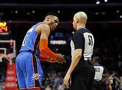 March 8, 2019 - Los Angeles, California, U.S - Oklahoma City Thunder's Russell Westbrook (0) yells at referee after fouling out during an NBA basketball game between Los Angeles Clippers and Oklahoma City Thunder Friday, March 8, 2019, in Los Angeles. (Credit Image: © Ringo Chiu/ZUMA Wire)