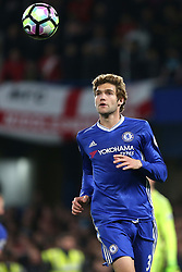 8 May 2017 - Premier League Football - Chelsea v Middlesbrough<br /> Marcos Alonso of Chelsea looks up for the ball<br /> Photo: Charlotte Wilson
