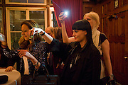 Stephanie Hirsch-Miller; HANNAH MARSHALL; MEANNE WIERZBA, London College of Fashion hosts party to celebrate the opening of Carmen: A Life in Fashion with guest of honour Carmen Dell'Orefice. Il Bottachio, Hyde Park Corner. London. 16 November 2011. <br /> <br />  , -DO NOT ARCHIVE-© Copyright Photograph by Dafydd Jones. 248 Clapham Rd. London SW9 0PZ. Tel 0207 820 0771. www.dafjones.com.