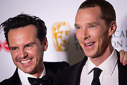 Andrew Scott and Benedict Cumberbatch in the press room after winning the award for Best Mini-Series at the Virgin Media BAFTA TV awards, held at the Royal Festival Hall in London.