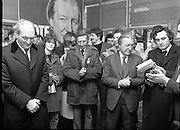 Opening of New Ogra Fianna Fail office on O'Connell St,Dublin.1982.30.01.1982.01.30.1982.30th January 1982.Picture Of Mr George Colley T.D, Mr Tom Leonard,prospective candidate,Mr Charles Haughey,Leader of Fianna Fail and Mr Bertie Ahearn as they listen to speakers.....