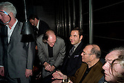 David Bradley; David Walliams;Sir Harold Pinter; Michael Gambon. The afterparty following the press night of 'No Man's Land', at Mint Leaf. Haymarket October 7, 2008 *** Local Caption *** -DO NOT ARCHIVE-© Copyright Photograph by Dafydd Jones. 248 Clapham Rd. London SW9 0PZ. Tel 0207 820 0771. www.dafjones.com.