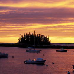 Southport Island, ME.. Boats moored in a small harbor at the southern end of Southport Island.  Boothbay Harbor