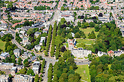 Nederland, Noord-Holland, Haarlem, 01-08-2016; Haarlemmerhout met aan de Dreef de Provincie Noord-Holland en Paviljoen Welgelegen.<br /> Haarlem Woods.<br /> luchtfoto (toeslag op standard tarieven);<br /> aerial photo (additional fee required);<br /> copyright foto/photo Siebe Swart