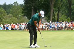 August 12, 2018 - St. Louis, Missouri, U.S. - ST. LOUIS, MO - AUGUST 12: Brooks Koepka putts on the #1 green during the final round of the PGA Championship on August 12, 2018, at Bellerive Country Club, St. Louis, MO.  (Photo by Keith Gillett/Icon Sportswire) (Credit Image: © Keith Gillett/Icon SMI via ZUMA Press)