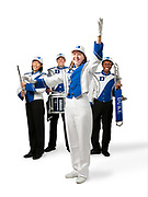 members of the Duke Marching Band pose for a Duke Forward capital campaign ad photo