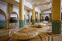Maroc, Casablanca, la mosquee Hassan II, salle des ablutions // Morocco, Casablanca,  Hassan II mosque