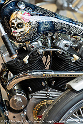70's Helmets Fabrizio Caoduro's Radikal Choppers built 1,000cc Ironhead XLCH custom named The Skinny at the Swiss-Moto Customizing and Tuning Show. Zurich, Switzerland. Saturday, February 23, 2019. Photography ©2019 Michael Lichter.