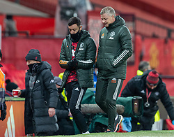 LIVERPOOL, ENGLAND - Sunday, January 24, 2021: Manchester United's manager Ole Gunnar Solskjær (R) and Manchester United's substitute Bruno Fernandes (L) during the FA Cup 4th Round match between Manchester United FC and Liverpool FC at Old Trafford. Manchester United won 3-2. (Pic by David Rawcliffe/Propaganda)