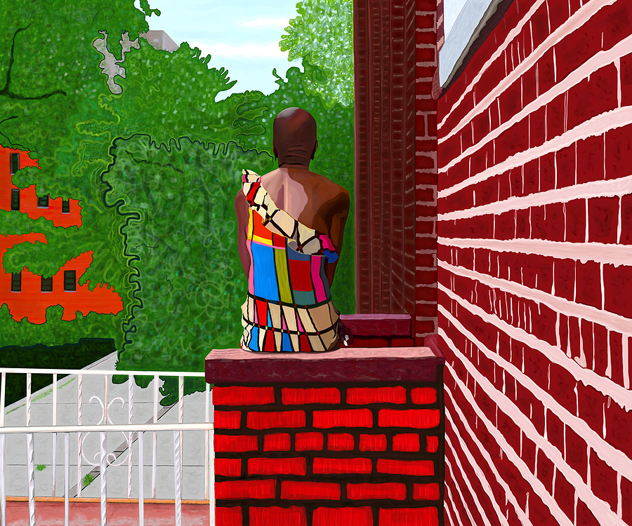 A woman in a colorful, modern dress sitting on her stoop on a summer's day in Crown Heights, Brooklyn, NY