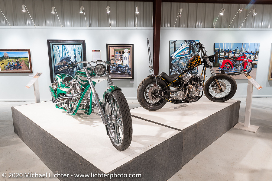 Jerry Covington's 2004 Discovery pro-Street bike with its Patrick Racing 113n ci in a Covington frame beside Atomic Trent Schara's Death Dealer Evo custom, in the Heavy Mettle - Motorcycles and Art with Moxie exhibition at the Sturgis Buffalo Chip. This is the 2020 iteration of the annual Motorcycles as Art series curated and produced by Michael Lichter. Sturgis, SD, USA. Friday, August 7, 2020. Photography ©2020 Michael Lichter.