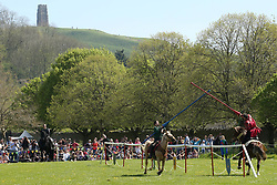 © Licensed to London News Pictures. 20/04/2019. Glastonbury, UK. Jousting beneath Glastonbury Tor at Glastonbury Abbey Medieval Fayre on Easter bank holiday weekend.  Photo credit: Jason Bryant/LNP
