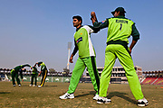 Pakistan National Cricket team inside Gaddafi Stadium, Lahore  during a week long training camp period prior to the 2011 ICC World Cricket Cup.
