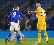 Jamie Vardy of Leicester City and Pepe Reina of Aston Villa during the Premier League match at the King Power Stadium, Leicester. Picture date: 9th March 2020. Picture credit should read: Darren Staples/Sportimage