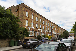 Offerton Road in Clapham, London, where a suspected stowaway on a flight landing in London was killed in the garden of one of the homes after he fell to earth from the aircraft's undercarriage bay, landing in the garden. London, July 01 2019.
