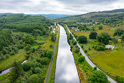 Aerial view from drone of Crinan Canal at village of Cairnbaan in Argyll & Bute, Scotland, UK