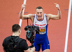 Richard Kilty of Great Britain celebrates after winning in the 60m Men Final on day two of the 2017 European Athletics Indoor Championships at the Kombank Arena on March 4, 2017 in Belgrade, Serbia. Photo by Vid Ponikvar / Sportida