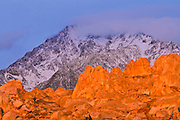 Dawn light on the Sierra crest from Buttermilk Country, Inyo National Forest, Sierra Nevada Mountains, California USA