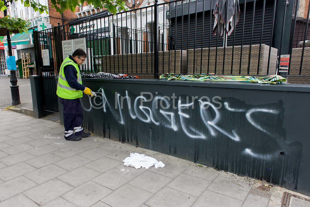 Racist graffiti has been sprayed on a wall on Herne Hill in the south London borough of Southwark. Appearing some time over the weekend, the offensive message was left outside a jazz and funk bar called Dee Dee's in an otherwise very affluent suburb of the capital, making this offence very unusual and shocking many residents. It was initially partly painted over then covered by sheets before council workmen appeared to remove the graffiti within 30mins after it being reported.