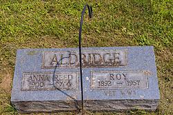 Stouts Grove Cemetery<br /> <br /> Anna Reed Aldridge 1900-1974<br /> Roy Aldridge - 1892-1957 WWI Veteran