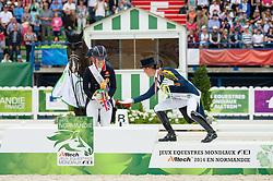 Charlotte Dujardin, (GBR), Adelinde Cornelissen, (NED) - Freestyle Grand Prix Dressage - Alltech FEI World Equestrian Games™ 2014 - Normandy, France.<br /> © Hippo Foto Team - Jon Stroud<br /> 25/06/14