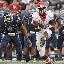 Oct 31, 2009; East Hartford, CT, USA; Rutgers wide receiver Mark Harrison (81) yells after dropping a catch during second half Big East NCAA football action in Rutgers' 28-24 victory over Connecticut at Rentschler Field.