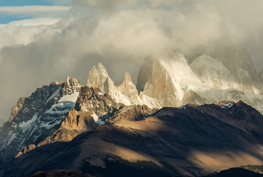 Sunrise from the Rio de Las Vueltas canyon with Fitz Roy in the clouds.
