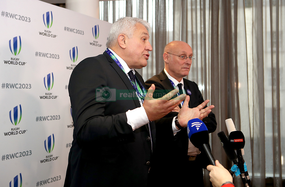 French Rugby Federation president Bernard Laporte (right) and bid president Claude Atcher (left) during the 2023 Rugby World Cup host union announcement at The Royal Garden Hotel, Kensington.