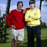 Hall of Fame golfer Tom Watson, right, and his caddy Bruce Edwards have been together for nearly 3 decades. Edwards was recently diagnosed with Lou Gehrig's Disease, also known as ALS, for which there is no cure. Watson is using his fame and money to raise awareness and funds to battle the lethal disease. Watson and Edwards are like brothers. Photographed 3/20/03 by Todd Bigelow. Please contact legal@toddbigelowphotography.com with your licensing request.
