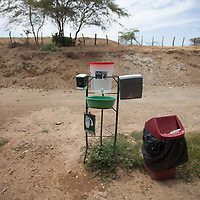 A handwashing stand at Fairtrade-certified banana producers APPBOSA in Samán, Marcavelica, Piura, Peru. Fairtrade standards insist on basic health and safety for the workers.