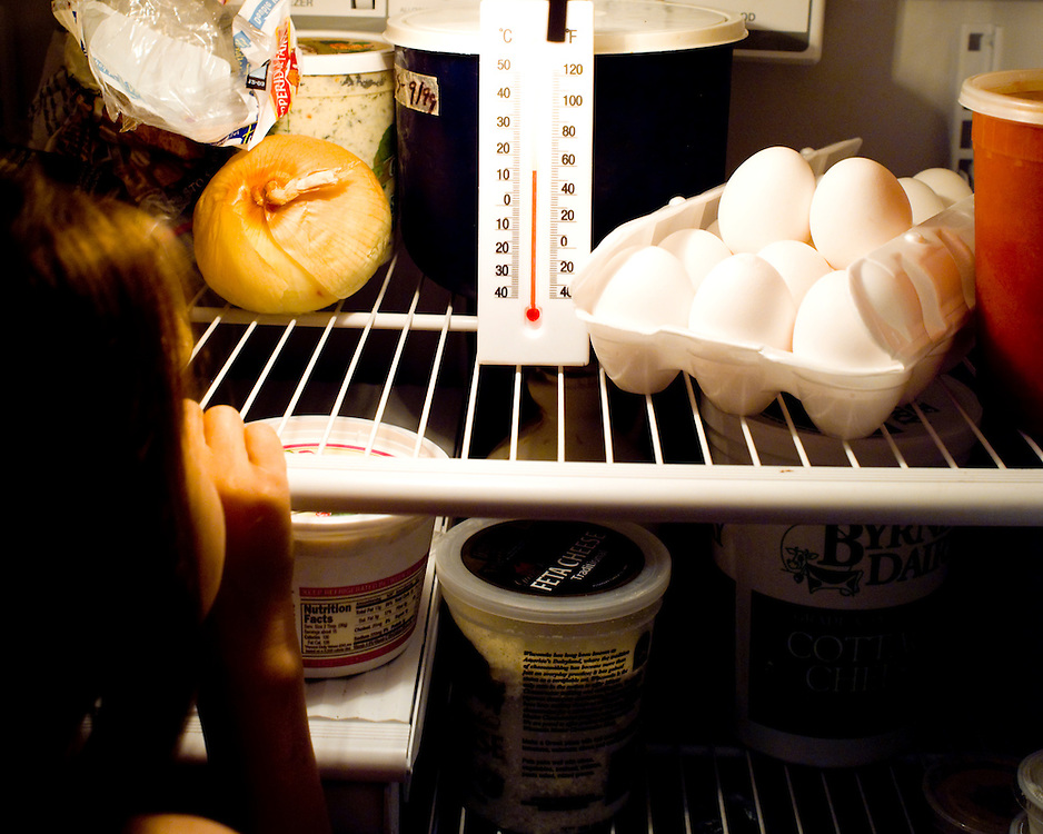 Girl reading temperature on a thermometer in a refrigerator.