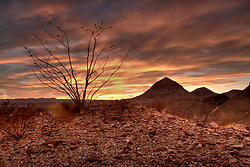 Stock photo of the Chihuahua desert sunset in the Christmas mountain range, Brewster County, West Texas