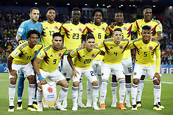 back row (l-r) Colombia goalkeeper David Ospina, Johan Mojica of Colombia, Davinson Sanchez of Colombia, Carlos Sanchez of Colombia, Jefferson Lerma of Colombia, Yerry Mina of Colombia <br />front row (l-r)<br />Juan Cuadrado of Colombia, Radamel Falcao Garcia of Colombia, Juan Quintero of Colombia, Santiago Arias of Colombia, Wilmar Barrios of Colombia during the 2018 FIFA World Cup Russia round of 16 match between Columbia and England at the Spartak stadium  on July 03, 2018 in Moscow, Russia