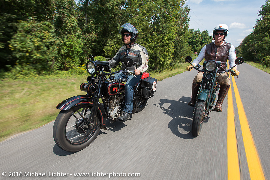 Licenced Harley-Davidson artist Scott Jacobs riding his 1926 Harley-Davidson JD with Dean Bordigioni (Dino) riding his 1923 Harley-Davidson JS during Stage 5 of the Motorcycle Cannonball Cross-Country Endurance Run, which on this day ran from Clarksville, TN to Cape Girardeau, MO., USA. Tuesday, September 9, 2014.  Photography ©2014 Michael Lichter.