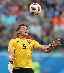 SAINT PETERSBURG, July 14, 2018  Jan Vertonghen (front) of Belgium competes for a header during the 2018 FIFA World Cup third place play-off match between England and Belgium in Saint Petersburg, Russia, July 14, 2018. (Credit Image: © Fei Maohua/Xinhua via ZUMA Wire)