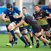 DUBLIN, IRELAND:  October 9:   Ryan Baird #4 of Leinster tackled by Luca Andreani #7 of Zebre during the Leinster V Zebre, United Rugby Championship match at RDS Arena on October 9th, 2021 in Dublin, Ireland. (Photo by Tim Clayton/Corbis via Getty Images)