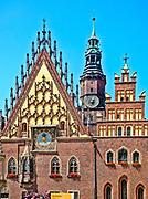 Fasada gotyckiego ratusza miejskiego, Wrocław, Polska<br /> Facade of gothic town hall, Wrocław, Poland