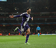 Anderlecht Aleksandar Mitrovic celebrates scoring his sides third goal<br /> <br /> - Champions League Group D - Arsenal vs Anderlecht- Emirates Stadium - London - England - 4th November 2014  - Picture David Klein/Sportimage