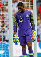 Football - 2018 International Friendly (pre-World Cup warm-up) - England vs. Nigeria<br /> <br /> Francis Uzoho (Nigeria) looking dejected after conceding the opening goal at Wembley Stadium.<br /> <br /> COLORSPORT/DANIEL BEARHAM
